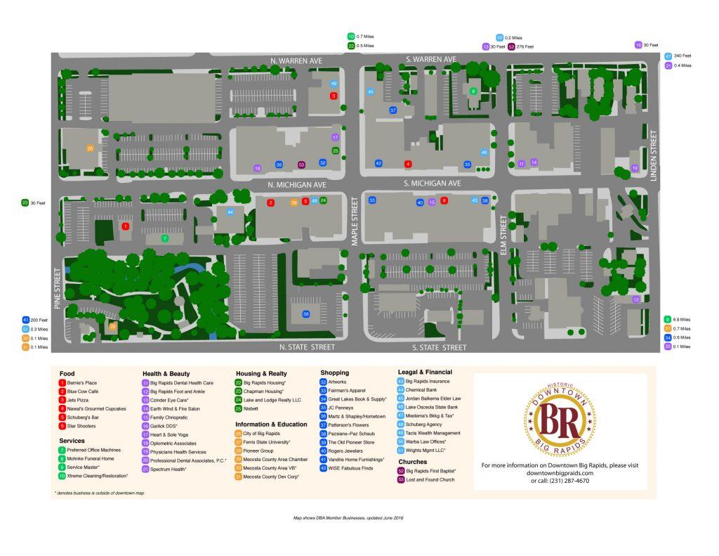 Downtown Big Rapids Map